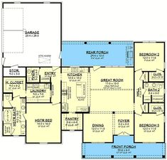Country Craftsman House Plan with Split Bedrooms - 51817HZ | Architectural Designs - House Plans