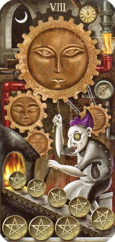 Deviant Moon Tarot- Eight of Pentacles    78 Whispers In My Ear: Daily Draw- The Sun, Seven of Wands, Ace of Swords