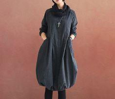 Fashion Women Deep Gray Cotton Linen Dress Loose Fit Top Clothes Leisure Top Clothes Long Sleeve  Dress W/Front Open