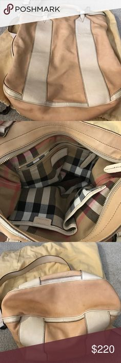 Nude Burberry Crossbody bag Nude leather cross body bag. Perfect for traveling. 12in by 12in. Few signs of wear on outside. Firm on price. Burberry Bags Crossbody Bags