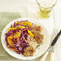 Almond-Crusted Chicken with Rainbow Slaw