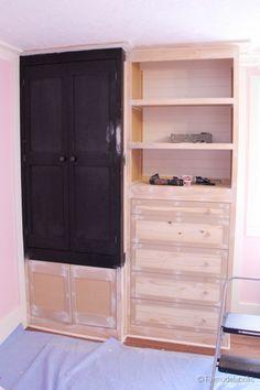 DIY built in closet Diy Furniture Chair, Upcycled Furniture, Furniture Making, Closet Storage, Bedroom Storage, Closet Hacks, Closet Ideas, Creative Closets, Build A Closet