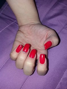 bright red acrygel nails