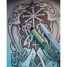 Geri, Freki & Helm of Awe, custom design for a half sleeve tattoo #geri #freki #wolves #helmofawe #customdesign #customtattoo #asatru #neonordic #nordictattoo #nordic #norsetattoo #vikingtattoo #norsemyth #ArsCeltica #VitorGonzalezArt #dotwork #knotwork #aegishjalmur