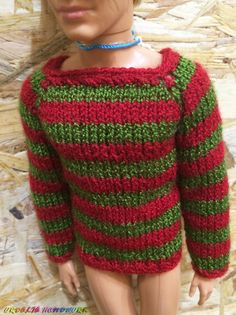 Your place to buy and sell all things handmade Diy Ken Doll Clothes, Clothes Crafts, Handmade Clothes, Handmade Items, Barbie And Ken, Barbie Dolls, Monster High Dolls, Knitted Dolls, Green Sweater