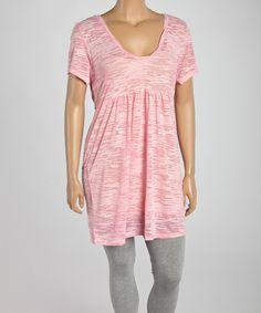 Look at this #zulilyfind! Light Pink Burnout Scoop Neck Tunic - Plus by TROO #zulilyfinds