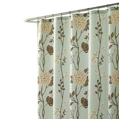Blue shower curtain with a floral motif.   Product: Shower curtainConstruction Material: PolyesterColor: