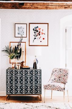 Modern bohemian style - love the mix of pattern and texture #bohemianstyle #bohemiandecor