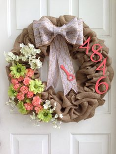 Shabby Chic Burlap Wreath With Address Spring filled with lace bow. Personalized love.