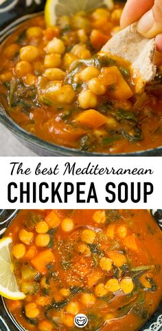 This warming and hearty chickpea soup comes together in less than 30 minutes. Plus, it tastes delicious and is made with cheap store cupboard staples and spinach from the freezer. A portion com Quick Soup Recipes, Healthy Dinner Recipes, Vegetarian Recipes, Cooking Recipes, Diabetic Recipes, Chickpea Soup, Chickpea Recipes, Chickpea Tuna, Vegan Soup