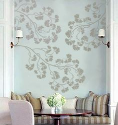 Gingko branch stencil....maybe on soft blue bathroom ceiling.