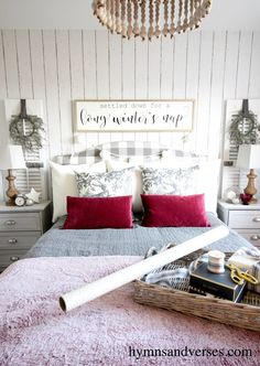 Hymns and Verses 2017 Christmas Tour - Cozy Bedroom in Gray and White with Berry Accents