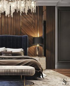 "Portfolio: City view apartment in ""Moscow-City"" centre Luxury Bedroom Design, Bedroom Furniture Design, Home Room Design, Luxury Home Decor, Luxury Interior Design, Bed Design, Design Logo, Design Agency, Home Bedroom"