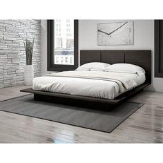 Latitude Run Masonville Queen Platform Bed Color: Dark Espresso Modern Bedroom Design, Room Ideas Bedroom, Master Bedroom Design, Home Decor Bedroom, Modern Mens Bedroom, Men Bedroom, Bedroom Ideas For Men Modern, Bedroom Ideas Minimalist, Minimalist Bed Frame