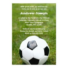 A soccer ball on green grass is featured on this sports themed Bar Mitzvah invitation.
