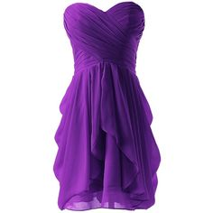 Dressystar Chiffon Bridesmaid Dress Short Sweetheart Homecoming Dance... (98 BRL) ❤ liked on Polyvore featuring dresses, short dresses, vestidos, purple, purple chiffon dress, chiffon mini dress, chiffon bridesmaid dresses and purple dresses