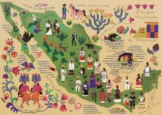 Folk Art Style Map Mexico