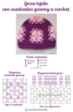 Patrón con diagrama y video tutorial para tejer este original gorro que emplea sólo 5 cuadrados granny a crochet. Baby Hats Knitting, Knitted Hats, Crochet Designs, Crochet Patterns, Crochet Baby, Crochet Granny, Crochet Hat Tutorial, Crochet World, Crochet Basics