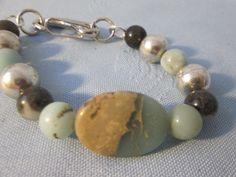 "Handmade Semi-Precious Stone  Bracelet - Aqua Terra Jasper (oval) , Amaszonite &  silver color beads - Hook Lever Clasp - Length 8 1/4"" by LsFindsandCreations on Etsy"