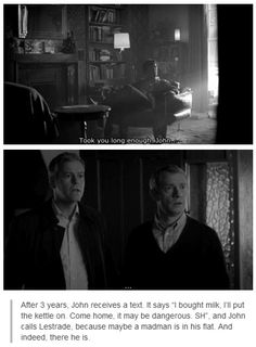 And then Lestrade punches Sherlock while John is still standing in the doorway in shock. Sherlock falling to the floor snaps John out of his daze, and goes to help Sherlock up. Then he starts yelling at Sherlock about the hell that he was put through, watching his best friend jump off a building right in front of him.