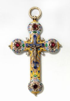 #Fabergé  --  Pectoral Cross  --  Circa 1899-1908  --  Workmaster: August Hollming  (St. Petersburg)  Gold, almandines, pearls, enamel on guilloché ground & painted enamel.