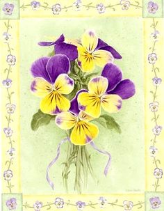 """Yellow Viola"" by Jane Shasky. Beautiful Flowers Pictures, Flower Pictures, Pretty Pictures, Flower Prints, Flower Art, Watercolor Cards, Paper Background, Botanical Illustration, Vintage Flowers"