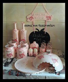 Mutfak seti, cam boyama, kavanoz boyama, baharat takımı, karatahta, kek fanusu, şekerlik, tuzluk, yağdanlık, fanus boyama, ahşap boyama, dekupaj, dekopuaj
