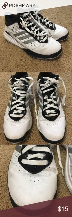 Men's Adidas High Top Sneaker Size 11. Men's high top Adidas tennis shoes. In great shape they just need to be wiped down! I've taken as many pics as I could to show all markings and dirt. Just need some TLC! Adidas Shoes Athletic Shoes