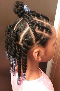 Toddler Braided Hairstyles, Toddler Braids, Easy Little Girl Hairstyles, Black Kids Hairstyles, Little Girl Braids, Natural Hairstyles For Kids, Braids For Kids, Natural Hair Styles, Girls Braids