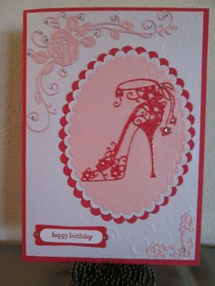 Tattered Lace Shoe - Red Hat card