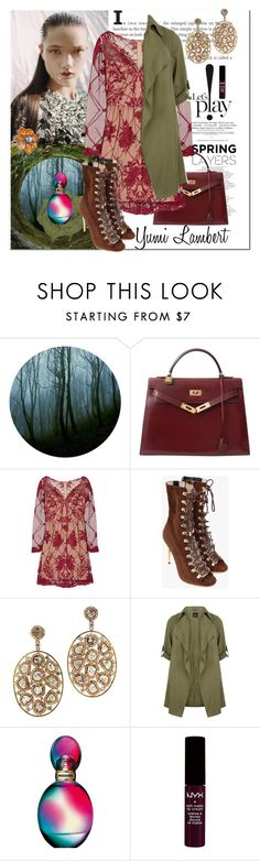 """""""What a model !!"""" by akchen ❤ liked on Polyvore featuring Hermès, Notte by Marchesa, Balmain, New Look, Missoni, NYX and Nigaam"""