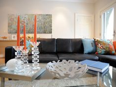 Orange Living Room | room to room the easy flow between the kitchen and living room makes ...