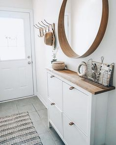 entryway decor Easy Shoe Cabinet Ikea Hack for a Narrow Entryway Lavender Julep Narrow Entryway, Ikea Entryway, Entryway Shoe Storage, Narrow Hallway Decorating, Small Entryway Decor, Ikea Hallway, Hall Storage Ideas, Narrow Bedroom Ideas, Shoe Storage Ideas For Small Spaces