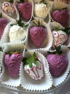 Chocolate covered strawberries #designed #purple #white