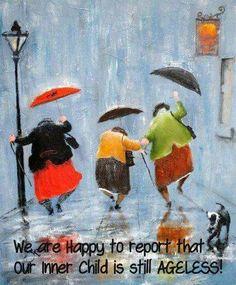 Dancin' in the rain Inge Look Art And Illustration, Friends Illustration, Rain Dance, Dance Art, Umbrella Art, Singing In The Rain, Art Abstrait, Rainy Days, Rainy Night