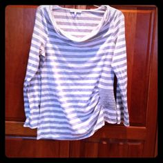 Mystre gray/white striped tee with gray accent L This cute top is from Mystre brand (purchased from On Deck in Door County WI in 2012). It features a cowl scoop neck with gray and white stripes. It has a small gray square made from 8 strips of fabric and the gray part is rouched on one side. It is a size L but runs small. Was $80! Mystre Tops Tees - Long Sleeve