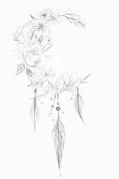 Untitled - Tattoo ideen - Tattoo Designs for Women Cover Up Tattoos, Tattoo Drawings, Body Art Tattoos, Small Tattoos, Sleeve Tattoos, Tatoos, Feather Tattoos, Flower Tattoos, Hippie Tattoos