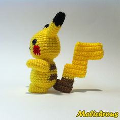 This crochet pattern will instruct you in creating your very own little Pikachu. Using specified materials will result in a doll with a height of a little over 6 inches with the ears. Using a different size yarn and hook will result in a different sized doll.
