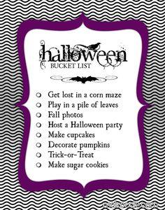 Halloween bucket list.