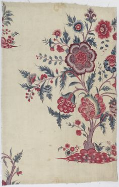 Two fragments which show the mirror image of a flowering tree motif. Textile Prints, Textile Patterns, Textile Design, Print Patterns, Fabric Drawing, Fabric Painting, Indian Textiles, Vintage Textiles, Folk Art Flowers