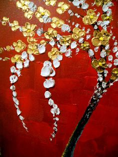 art painting original abstract flower palette knife painting modern gold flower impasto textured tree painting floral flower large 22 x 28