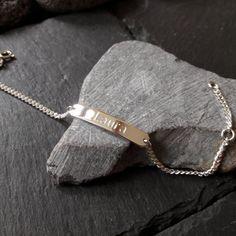 Babyarmband, Kinderarmband, 925 Silber ID Armband, Schildarmband, Drucks., GA-34