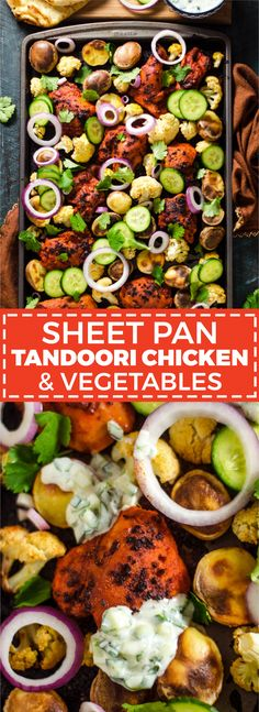 Sheet-Pan Tandoori Chicken & Vegetables - Host The Toast - - Sheet Pan Tandoori Chicken and Vegetables. This Indian-inspired recipe creates a full, delicious dinner with very little effort. Naan, Paleo Dinner, Dinner Recipes, Tandori Chicken, Tandoori Masala, One Pan Dinner, Sheet Pan Dinner, Recipe Sheets, Sheet Pan Suppers