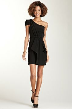 One Shoulder Draped Cap Sleeve Dress