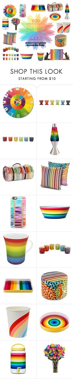 """Rainbow Home"" by southindianmakeup1990 ❤ liked on Polyvore featuring interior, interiors, interior design, home, home decor, interior decorating, NeXtime, Le Creuset, Universal Lighting and Decor and Tweedmill"