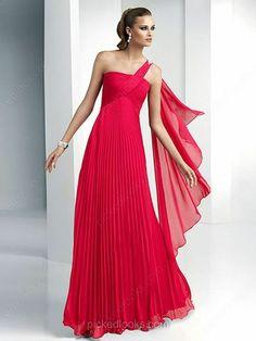 Chiffon One Shoulder Floor-length A-line Pleats Prom Dresses -NZD$151.79