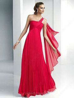 Chiffon One Shoulder Floor-length A-line Pleats Prom Dresses -NZD$151.79