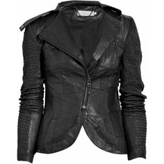 Preen Line Fencing ruched patchwork leather jacket ($1,080) ❤ liked on Polyvore featuring outerwear, jackets, tops, coats, casacos, women, black zip jacket, patchwork leather jacket, long leather jacket and black zipper jacket