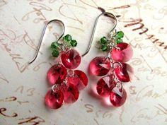 Pink Cherry Earrings - Swarovski Crystals Sterling Silver Chain Pendant Drop #thecraftstar #handmade $20.00