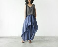Blue Cotton Linen Wide Leg Pants Short Skirt Hanging Crotch Pants Bigfoot Pants Travel Must Pants Loose Clothing on Etsy, $59.00
